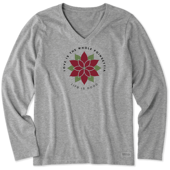 Women's Poinsettia Watercolor Long Sleeve Crusher Vee