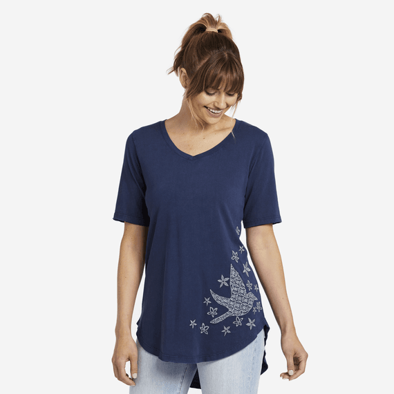 Women's Primal Bird Embroidery Freestyle Wash V-neck Tunic