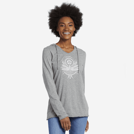 Women's Primal Dragonfly Long Sleeve Hooded Smooth Tee