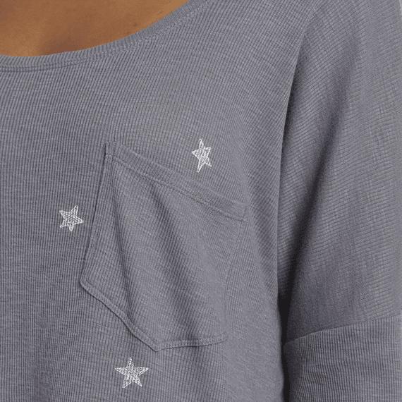 Women's Primal Scattered Stars Carefree Long Sleeve Pocket Tee
