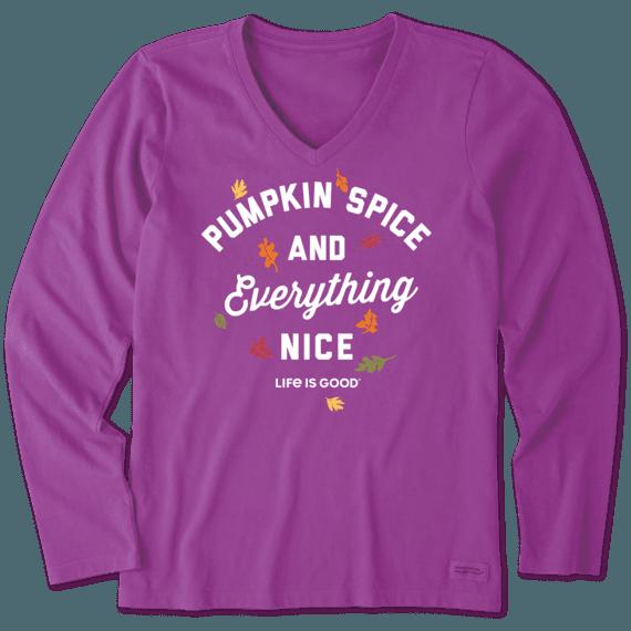 Women's Pumpkin Spice Long Sleeve Crusher Vee