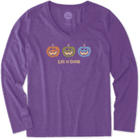 Women's Pumpkin Trio Long Sleeve Cool Vee