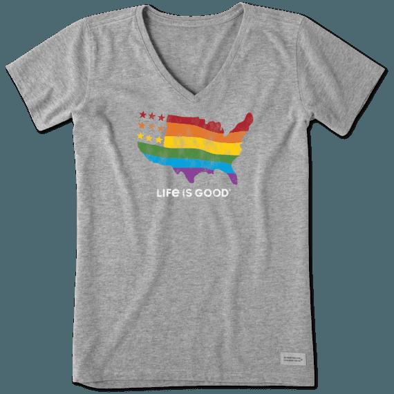 Women's Rainbow Map Crusher Vee