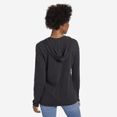 Women's Ripple Heart Hooded Long Sleeve Smooth Tee