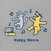 Women's Rocket And Cat Happy Dance Vintage Crusher Tee