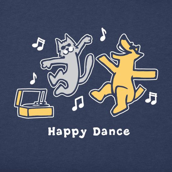 Women's Rocket And Cat Happy Dance Vintage Crusher Tee