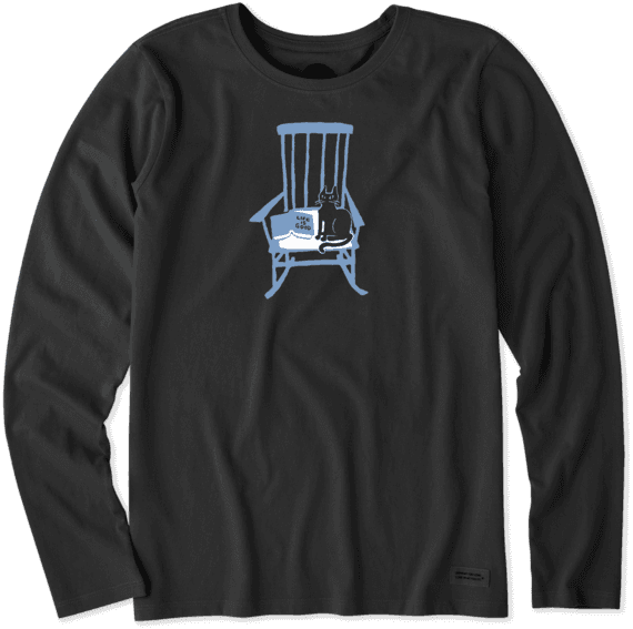 Swell Womens Rocking Chair Cat Long Sleeve Crusher Tee Evergreenethics Interior Chair Design Evergreenethicsorg