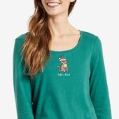 Women's Santa Cat Long Sleeve Sleep Tee
