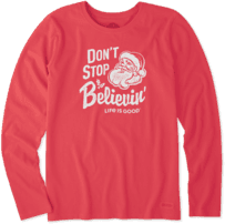 Women's Santa Don't Stop Believin' Long Sleeve Crusher Tee