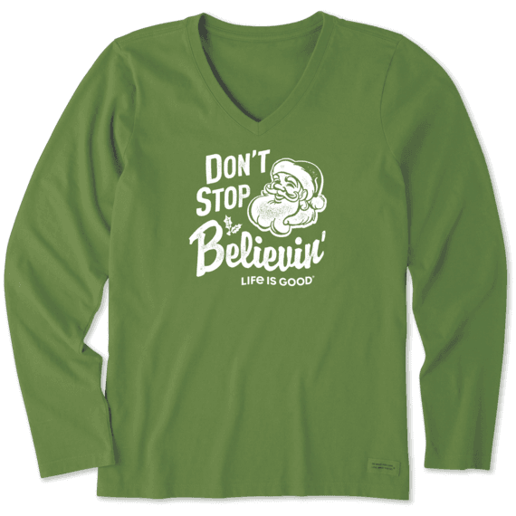 Women's Santa Don't Stop Believing Long Sleeve Crusher Vee