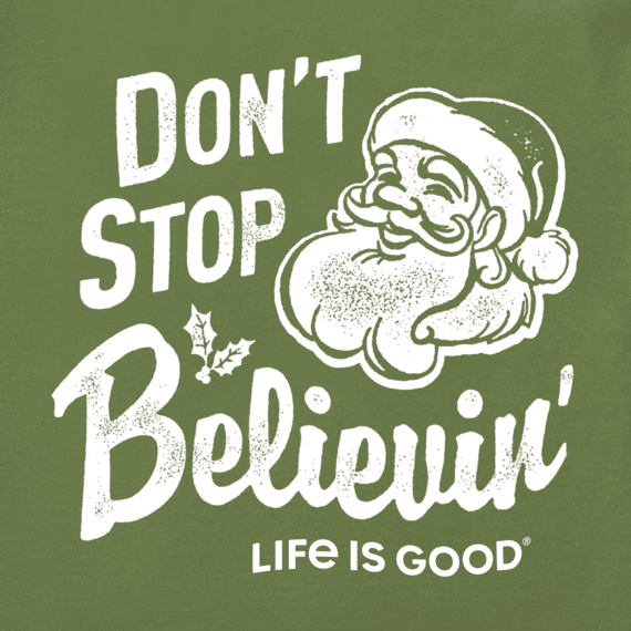 Women's Santa Don't Stop Believing Long Sleeve Crusher Vee
