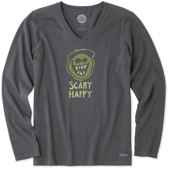 Women's Scary Happy Long Sleeve Crusher Vee