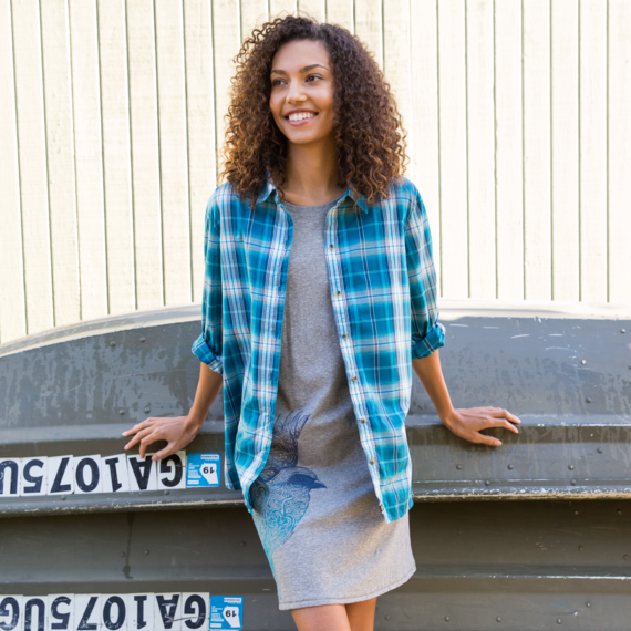 Women's Sea Blue Down Home Plaid Shirt