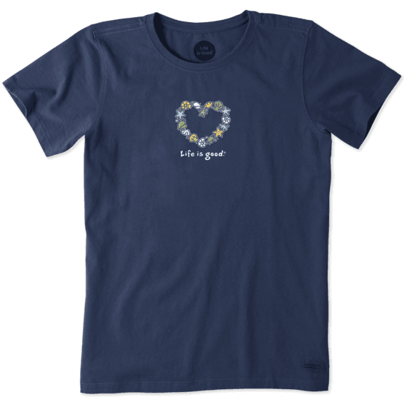 Women's Sea Shells Heart Vintage Crusher Tee