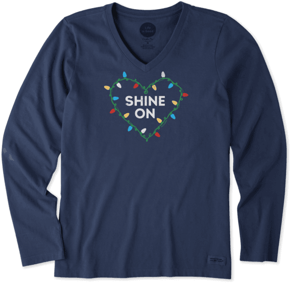 Women's Shine On Christmas Lights Long Sleeve Crusher Vee