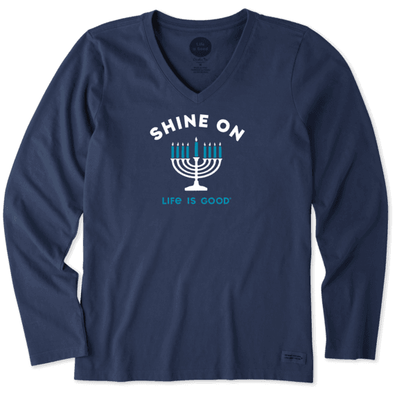 Women's Shine On Menorah Long Sleeve Crusher Vee