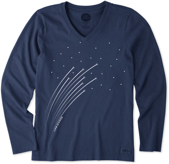 Women's Shooting Stars Long Sleeve Crusher Vee