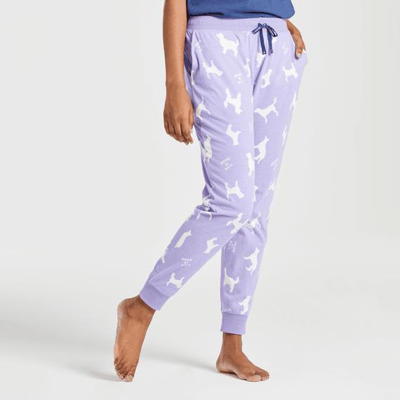 Women's Silhouette Dog Print Snuggle Up Sleep Jogger