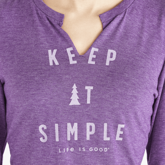 Women's Simple Pine Long Sleeve Favorite Split Neck Tee
