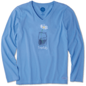 Women's Simplify Daisy Jar Long Sleeve Crusher Vee