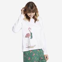 Women's Skiing Flamingo Snuggle Up Long Sleeve Sleep Tee