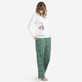 Women's Skiing Flamingo Snuggle Up Long Sleeve Sleep Tee