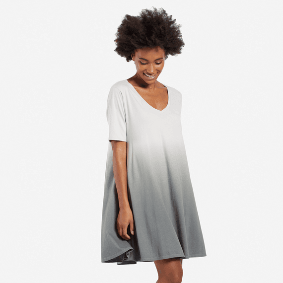 Women's Slate Gray Dip Dye Swing Dress