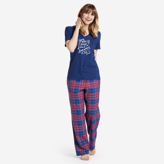 Women's Sleepy Cherry Plaid Classic Sleep Pant