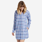 Women's Sleepy Powder Plaid Bedtime Button Down Sleep Shirt
