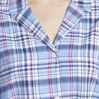 Women's Sleepy Powder Plaid Bedtime Button Down Sleep Shirt