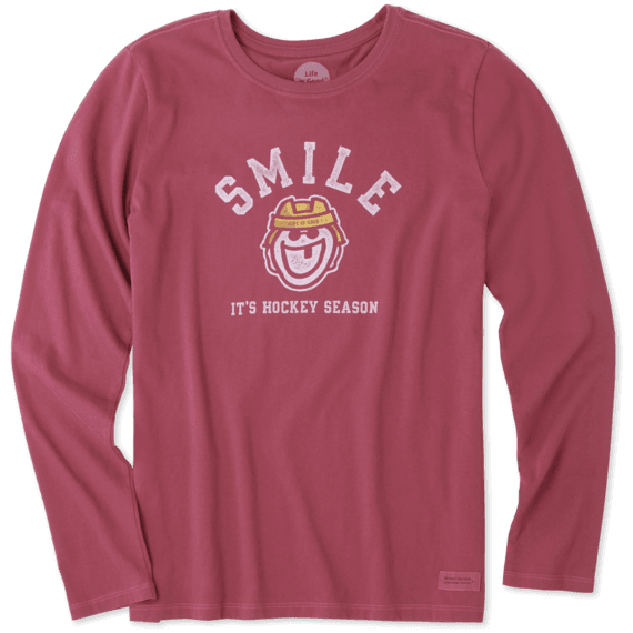 Women's Smile Its Hockey Season Long Sleeve Crusher Tee