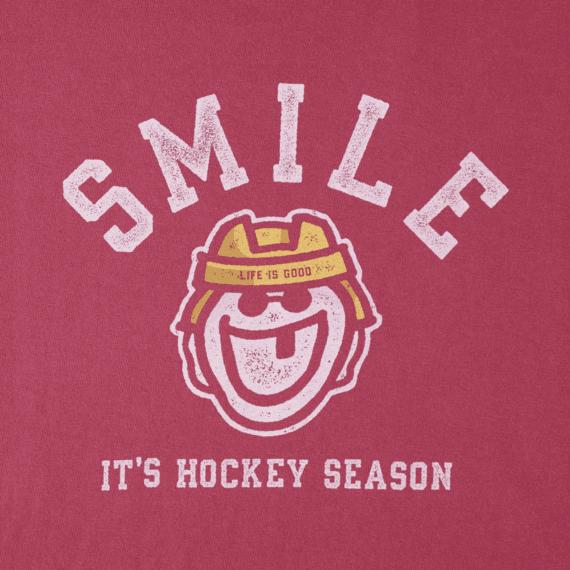 Women's Smile Its Hockey Season Long Sleeve Crusher Tee