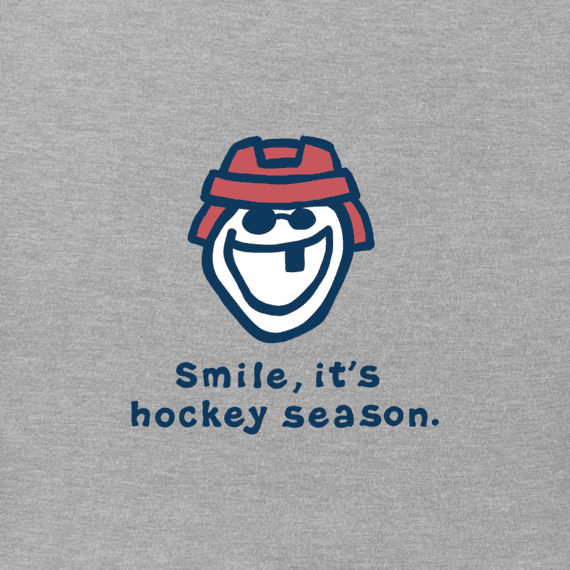 Women's Smile, It's Hockey Season Long Sleeve Vintage Crusher Tee