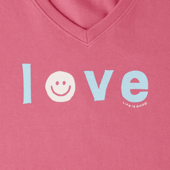 Women's Smiley Love Long Sleeve Crusher Vee