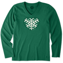 Women's Snowflake Heart Long Sleeve Crusher Vee