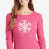 Women's Snowflake Long Sleeve Waffle Tee