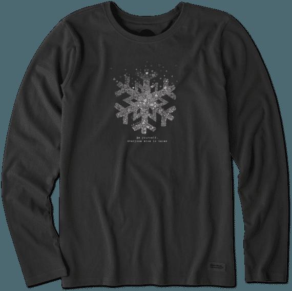 Women's Snowflake Tiny Hearts Long Sleeve Crusher Tee