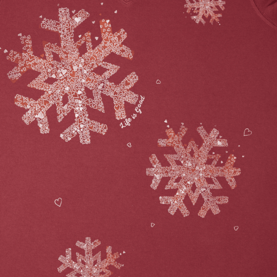 Women's Snowflake Tiny Hearts Long Sleeve Crusher Vee