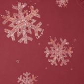 Women's Snowflake Tiny Hearts Long Sleeve Crusher Vee