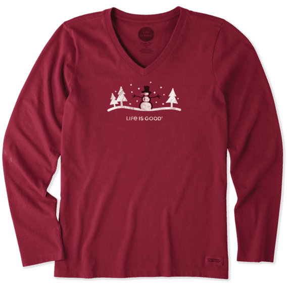 Women's Snowman Long Sleeve Crusher Vee