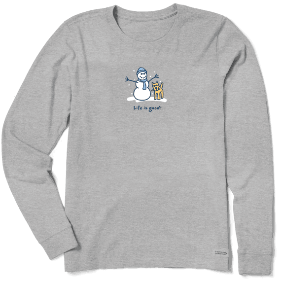 Women's Snowman and Rocket Long Sleeve Vintage Crusher Tee