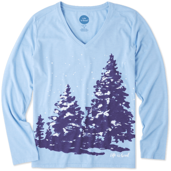 Women's Snowy Trees Long Sleeve Cool Vee