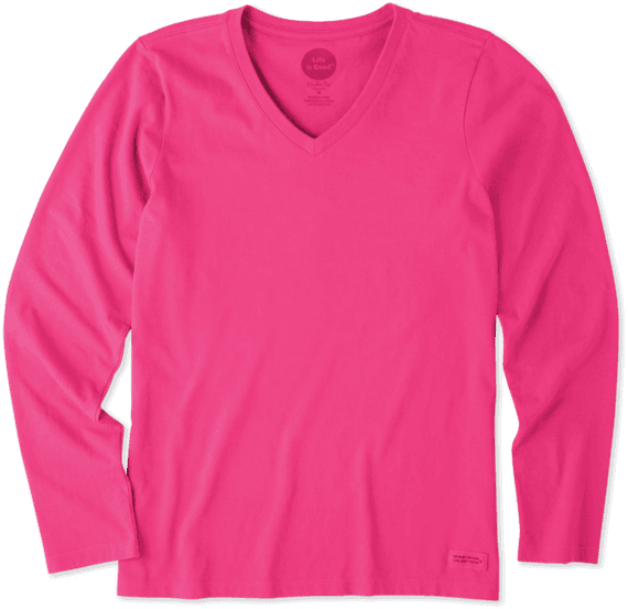 Women's Solid Long Sleeve Crusher Vee