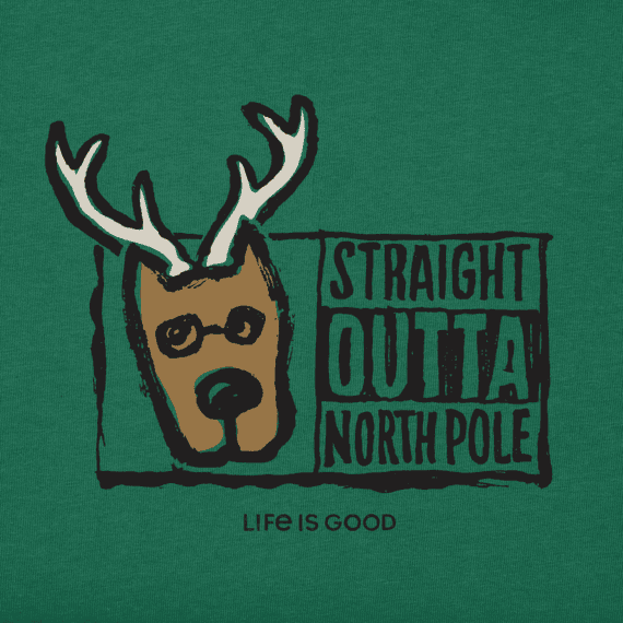 Women's Straight Outta North Pole Long Sleeve Crusher Vee