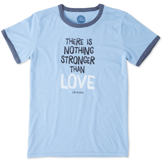 Women's Stronger Than Love Ringer Cool Tee