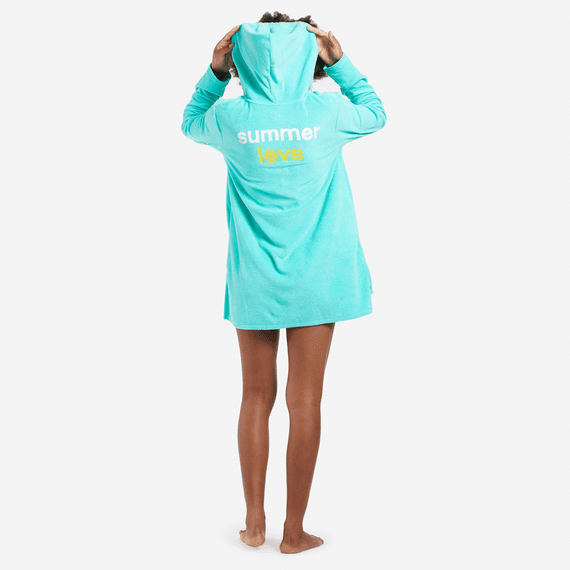 Women's Summer Love Smile Beach Cover-Up Hoodie