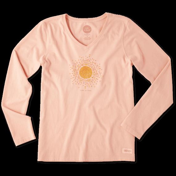 Women's Sun Hearts Long Sleeve Crusher Vee