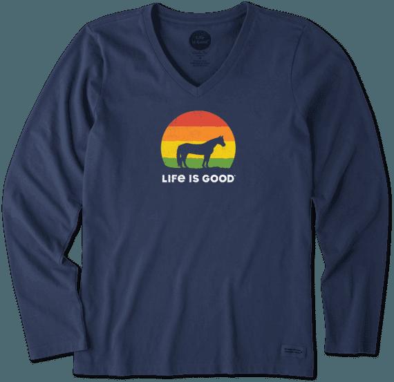 bc5c5c5c8579bd Sale Women's Sunny Horse Long Sleeve Crusher Vee | Life is Good ...