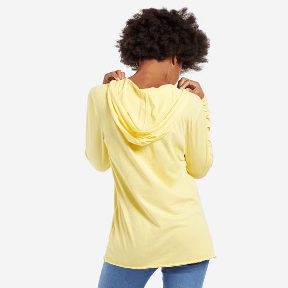 Women's Sunrise Watercolor Hooded Long Sleeve Smooth Tee