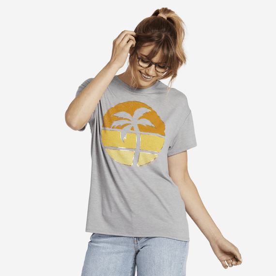 Women's Sunset Palm Favorite Slouchy Tee